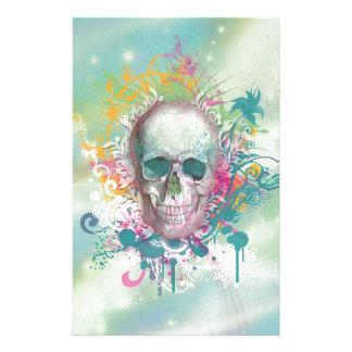 el cráneo fresco salpica el marco floral del vinta papelería personalizada