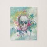 el cráneo fresco salpica el marco floral del vinta rompecabeza con fotos