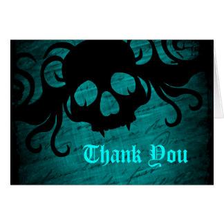 El cráneo gótico de la fantasía le agradece tarjeta pequeña