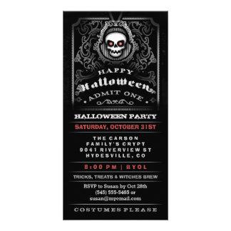 El cráneo gótico del feliz Halloween admite una Tarjetas Fotográficas Personalizadas