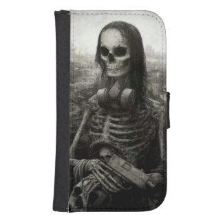 el cráneo haloween funda billetera para teléfono