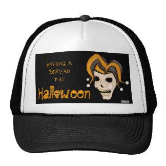El cráneo malvado del bufón (naranja) Halloween Gorras De Camionero