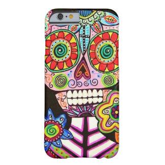El cráneo mexicano del azúcar del rosa de la mujer funda de iPhone 6 barely there
