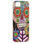 El cráneo mexicano del azúcar del rosa de la mujer funda para iPhone 5 barely there