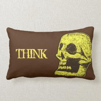 El cráneo piensa amarillo y a Brown Cojín Lumbar