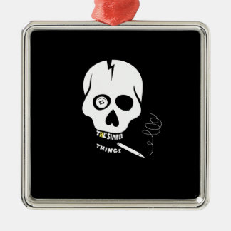 El cráneo simple de las cosas adorno navideño cuadrado de metal