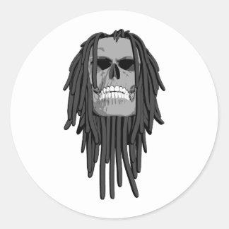 El cráneo teme etiqueta redonda