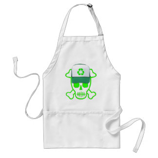El cráneo verde con recicla el gorra delantal