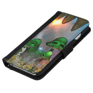 El cráneo verde divertido prolifera rápidamente funda cartera para iPhone 6