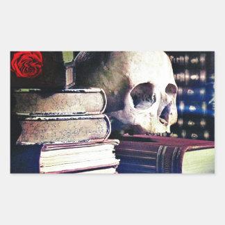 El cráneo y el encanto reservan en los regalos, la pegatina rectangular