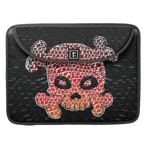 El cráneo y el fuego de la bandera pirata se desco fundas macbook pro