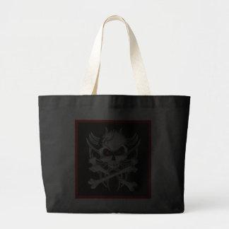 El cráneo y la bandera pirata de la muerte bolsas lienzo