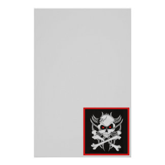 El cráneo y la bandera pirata de la muerte personalized stationery