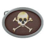 El cráneo y la bandera pirata Halloween asustadizo Hebillas Cinturon Ovales