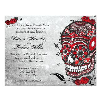 El cráneo y los Flourishes de Muerte del estilo Invitación 10,8 X 13,9 Cm