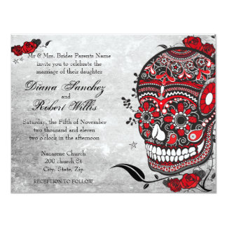 """El cráneo y los Flourishes de Muerte del estilo Invitación 4.25"""" X 5.5"""""""