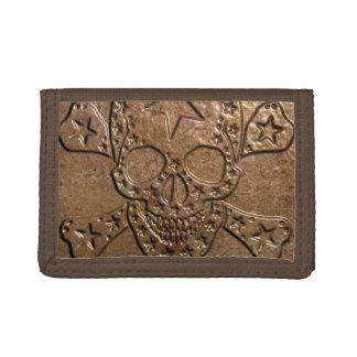 El cráneo y los huesos Metal/la cartera de nylon t