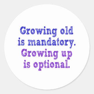 El crecimiento viejo es obligatorio pegatinas redondas