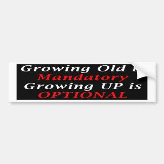 El crecimiento viejo es obligatorio pegatina para auto