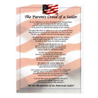El credo de los padres de un marinero tarjeta postal