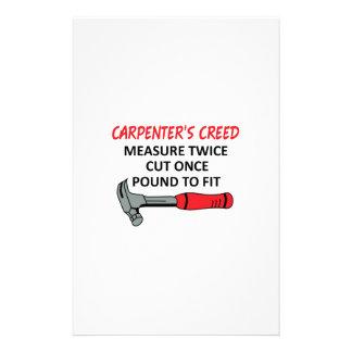 El credo del carpintero papeleria personalizada