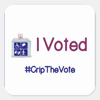 El #CripTheVote I VOTÓ a los pegatinas (cuadrados) Pegatina Cuadrada