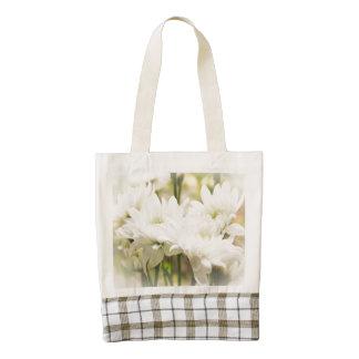 El crisantemo blanco florece el tote del corazón bolsa tote zazzle HEART