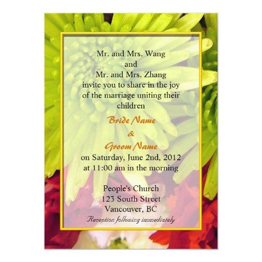 el crisantemo florece invitaciones del boda invitación 13,9 x 19,0 cm