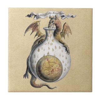 El crisol del dragón azulejo cuadrado pequeño