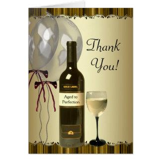 El cristal de botellas negro de vino del oro le tarjeta pequeña