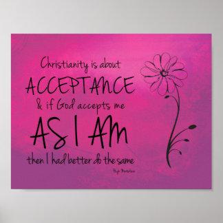 El cristianismo está sobre la aceptación, dios póster