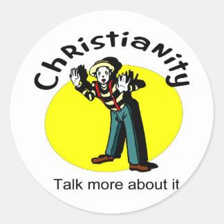 El cristianismo, habla más sobre él con mime pegatina redonda