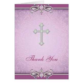 El cristiano color de rosa rosado de la cruz del d tarjeta pequeña