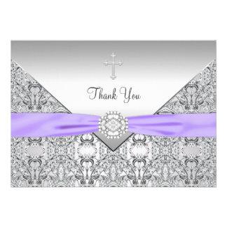 El cristiano elegante cruzado púrpura le agradece invitacion personalizada