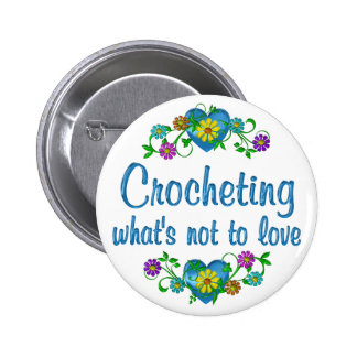 El Crocheting al amor Pin Redondo 5 Cm