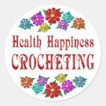 El Crocheting de la felicidad de la salud Pegatinas Redondas