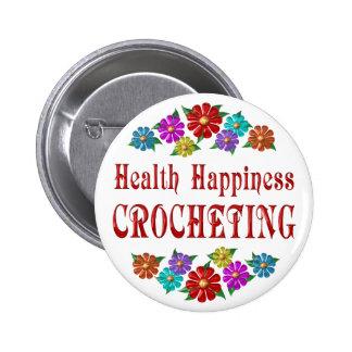 El Crocheting de la felicidad de la salud Pin Redondo 5 Cm
