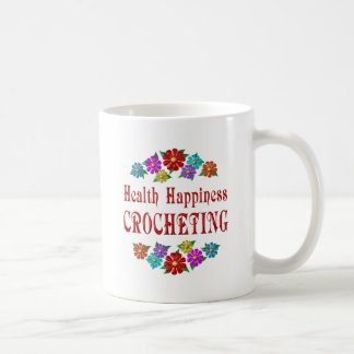El Crocheting de la felicidad de la salud Taza Básica Blanca