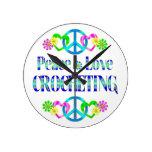 El Crocheting del amor de la paz Reloj