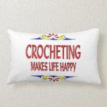 El Crocheting hace vida feliz Cojin