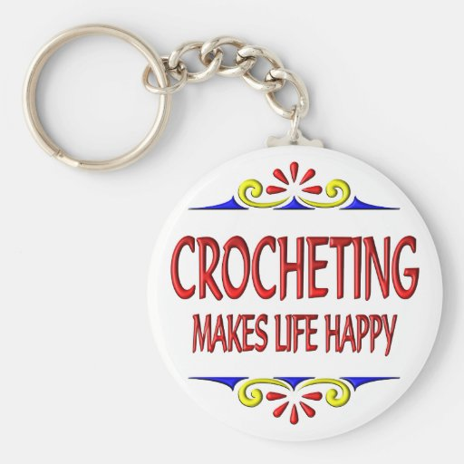 El Crocheting hace vida feliz Llavero