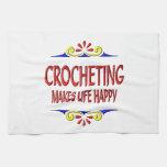 El Crocheting hace vida feliz Toallas De Mano
