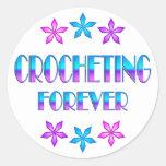 El Crocheting para siempre Pegatina