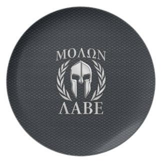 El cromo de Molon Labe tiene gusto del casco Platos De Comidas