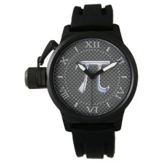 El cromo de plata tiene gusto de símbolo del pi en relojes de mano