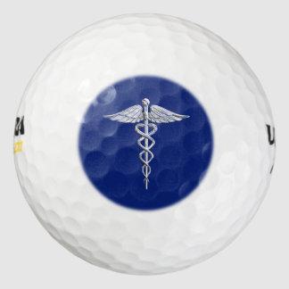 El cromo tiene gusto de símbolo médico del caduceo pack de pelotas de golf
