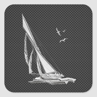 El cromo tiene gusto del velero en fibra de pegatina cuadrada