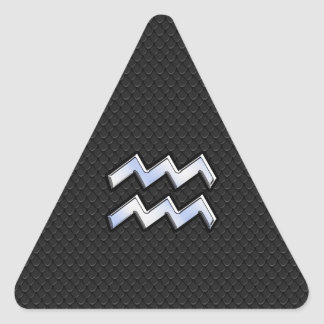 El cromo tiene gusto del zodiaco del acuario en pegatina triangular