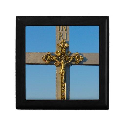 El crucifijo rumano Jesús es señor Joyero Cuadrado Pequeño