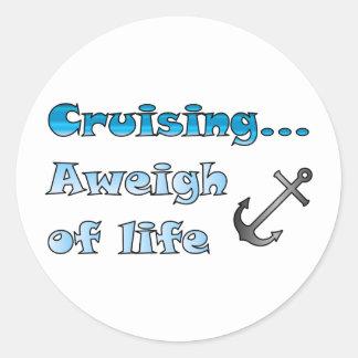El cruzar… Aweigh de vida Pegatinas Redondas